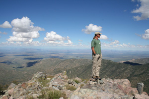 The author enjoys a clear view of Arizona, New Mexico and Mexico from the north summit of Dos Cabezas.